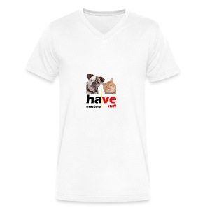 Dog & Cat - Men's V-Neck T-Shirt by Canvas