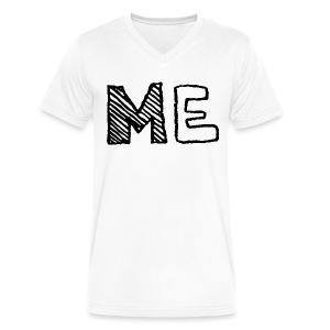Man ME T Shirt Black on White - Men's V-Neck T-Shirt by Canvas