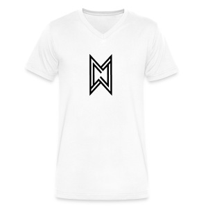 Black Logo White T-Shirt - Men's V-Neck T-Shirt by Canvas