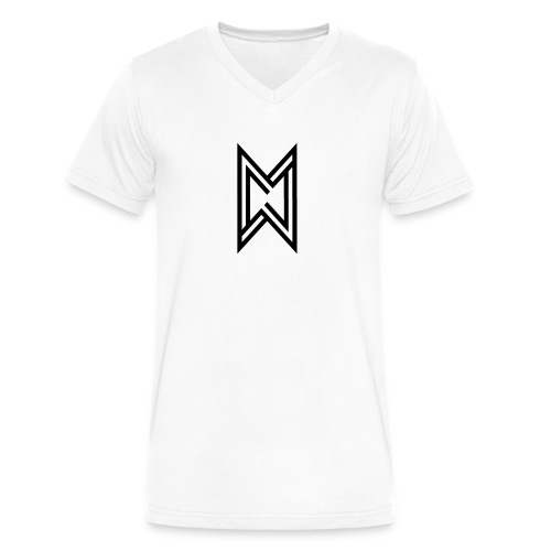 Black Logo White T-Shirt - Men's V-Neck T-Shirt by Canvas