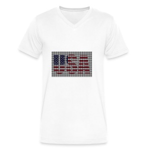 USA - Men's V-Neck T-Shirt by Canvas