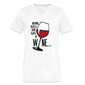 Nothing Beats a Good Glass of Wine - Men's V-Neck T-Shirt by Canvas
