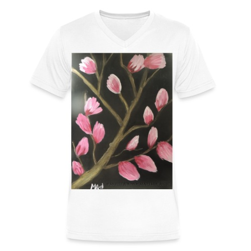 Magnolia Buds Early Spring - Men's V-Neck T-Shirt by Canvas