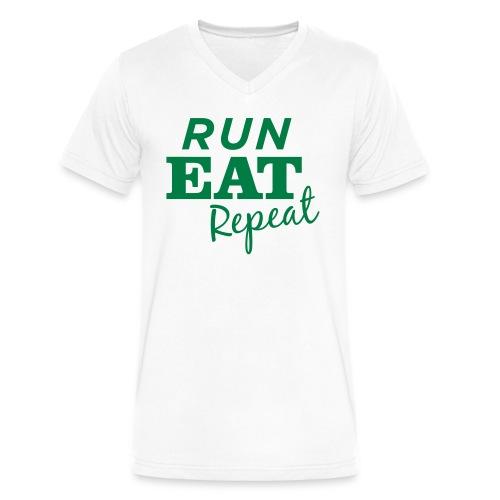 Run Eat Repeat buttons medium - Men's V-Neck T-Shirt by Canvas