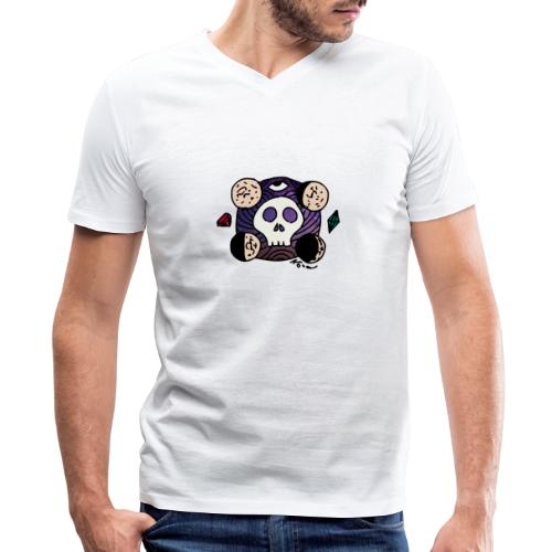 Moon Skull from Outer Space - Men's V-Neck T-Shirt by Canvas