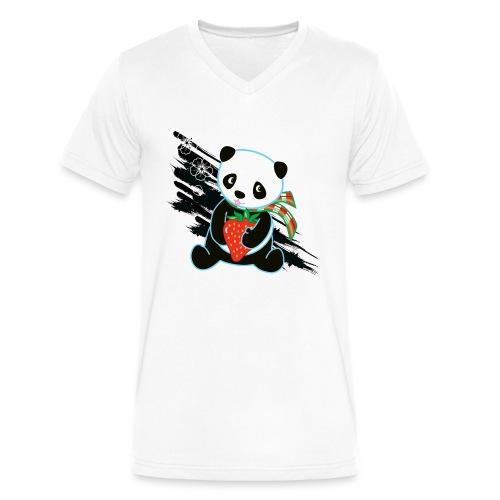 Cute Kawaii Panda T-shirt by Banzai Chicks - Men's V-Neck T-Shirt by Canvas
