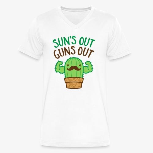 Sun's Out Guns Out Macho Cactus - Men's V-Neck T-Shirt by Canvas