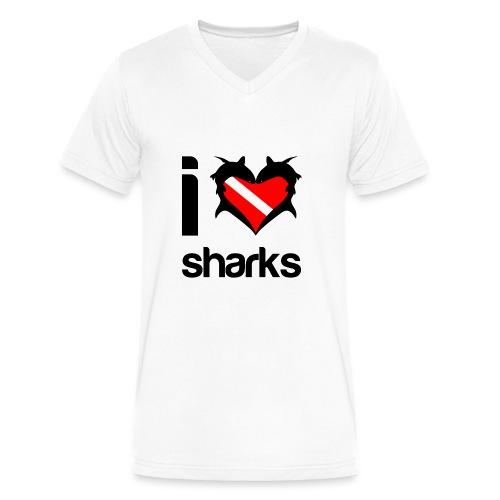 I Love Sharks - Men's V-Neck T-Shirt by Canvas