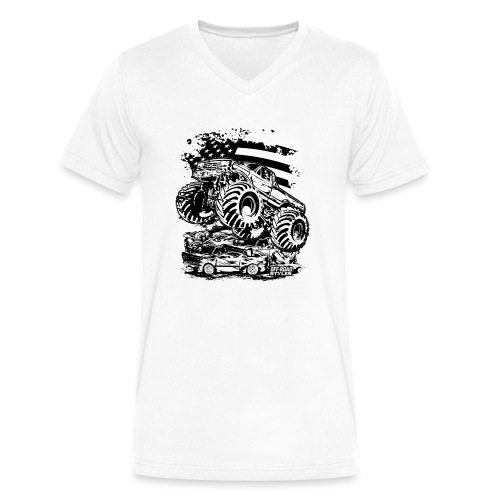Monster Truck USA - Men's V-Neck T-Shirt by Canvas
