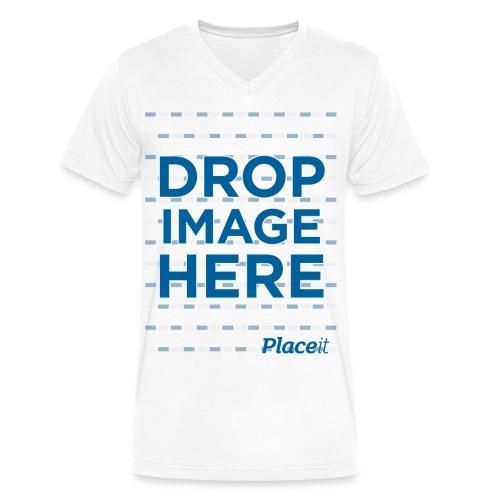 DROP IMAGE HERE - Placeit Design - Men's V-Neck T-Shirt by Canvas