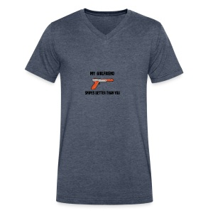 Girlfriend Snipes Better T-Shirt. Retro Gaming - Men's V-Neck T-Shirt by Canvas