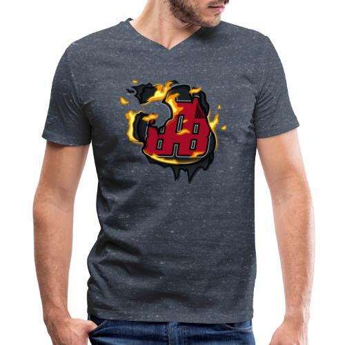 BAB Logo on FIRE! - Men's V-Neck T-Shirt by Canvas