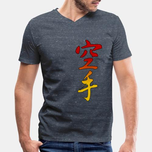 Karate Kanji Red Yellow Gradient - Men's V-Neck T-Shirt by Canvas