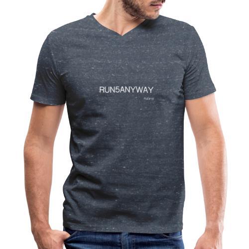 run/bike/walk 5, white font - Men's V-Neck T-Shirt by Canvas