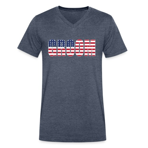 Groom US Flag - Men's V-Neck T-Shirt by Canvas