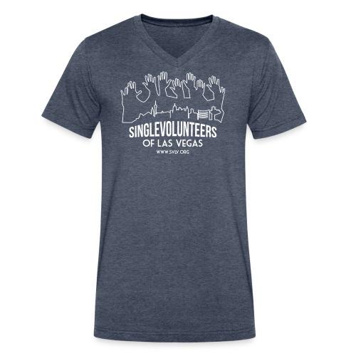 White logo SVLV - Men's V-Neck T-Shirt by Canvas