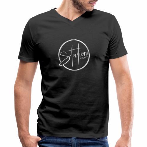 White Logo - Men's V-Neck T-Shirt by Canvas