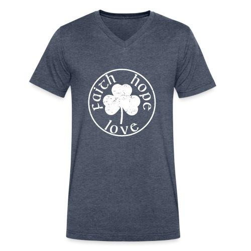 Irish Shamrock Faith Hope Love - Men's V-Neck T-Shirt by Canvas