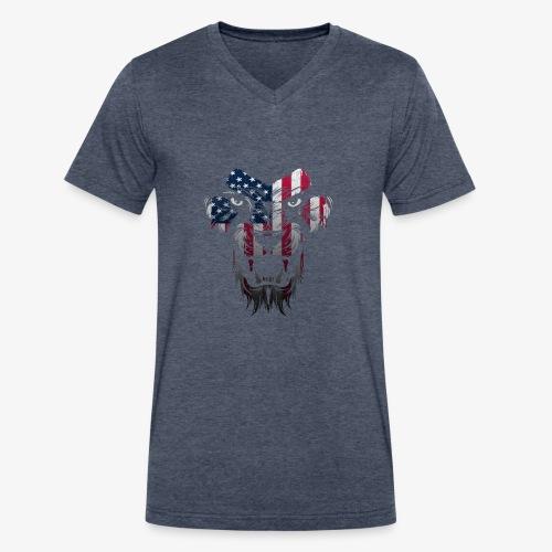 American Flag Lion Shirt - Men's V-Neck T-Shirt by Canvas