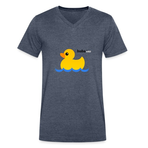 Hubs Duck - Wordmark and Water - Men's V-Neck T-Shirt by Canvas