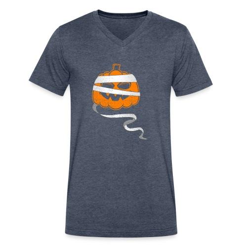 Halloween Bandaged Pumpkin - Men's V-Neck T-Shirt by Canvas