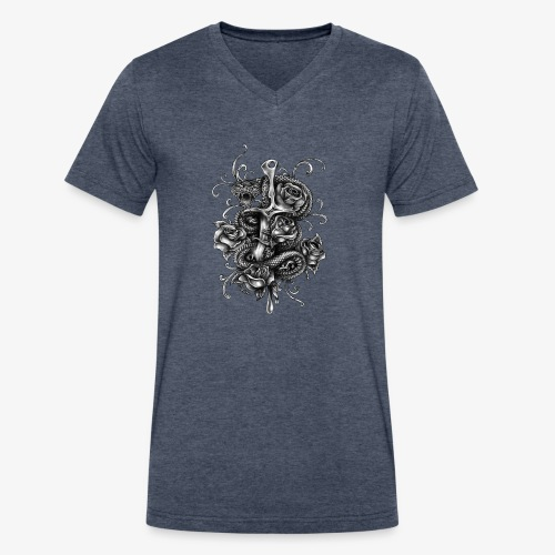 Dagger And Snake - Men's V-Neck T-Shirt by Canvas