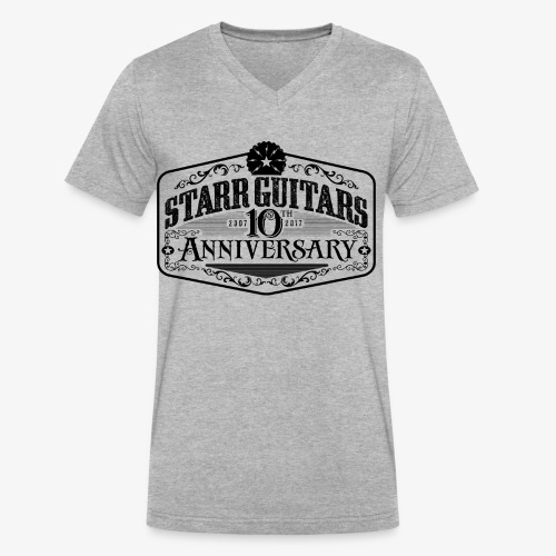 Starr Guitars 10th Anniversary Black Logo - Men's V-Neck T-Shirt by Canvas