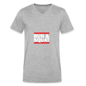 Run Squat White on Dark by Epic Greetings - Men's V-Neck T-Shirt by Canvas