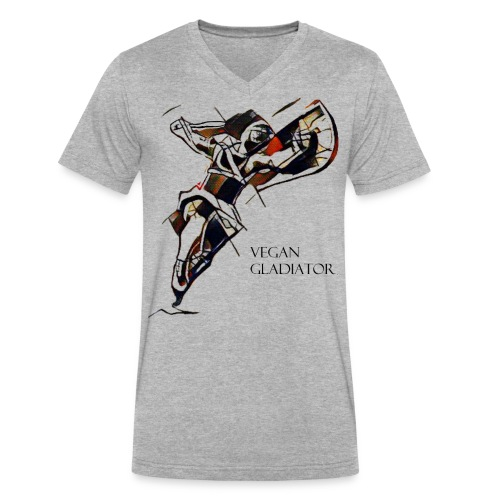 VEGAN GLADIATOR - Men's V-Neck T-Shirt by Canvas