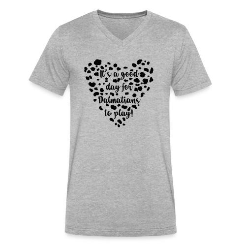 Dalmatians Play - Men's V-Neck T-Shirt by Canvas