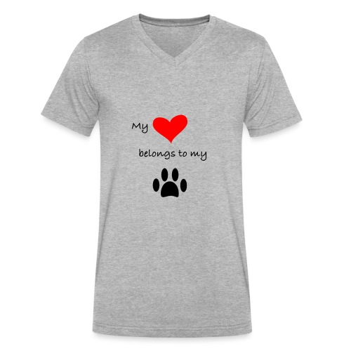 Dog Lovers shirt - My Heart Belongs to my Dog - Men's V-Neck T-Shirt by Canvas