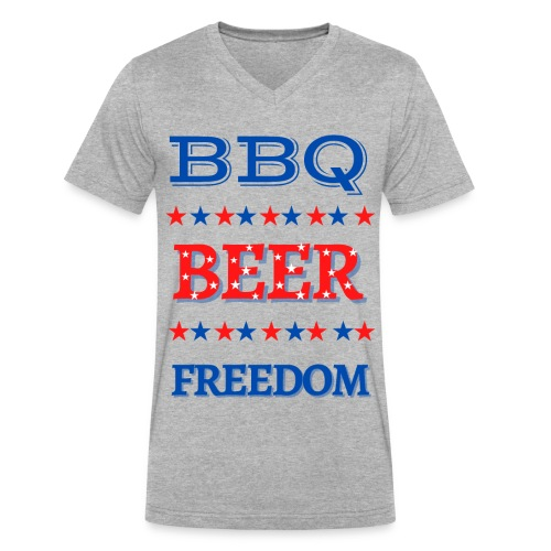 BBQ BEER FREEDOM - Men's V-Neck T-Shirt by Canvas