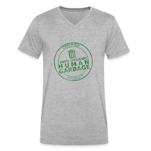 100% Human Garbage - Men's V-Neck T-Shirt by Canvas