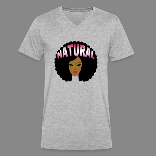 Natural Afro (Pink) - Men's V-Neck T-Shirt by Canvas