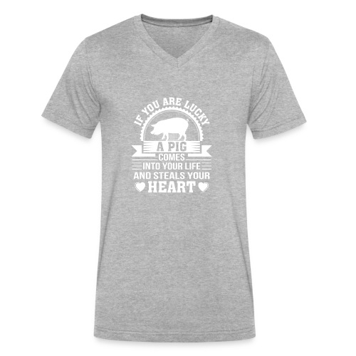 Mini Pig Comes Your Life Steals Heart - Men's V-Neck T-Shirt by Canvas