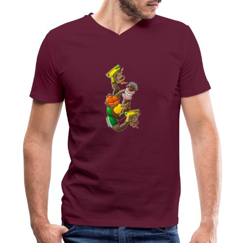 Acrobatic basketball player performing a high jump - Men's V-Neck T-Shirt by Canvas