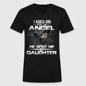 I Asked God For An Angel He Sent Me My Daughter - Men's V-Neck T-Shirt by Canvas