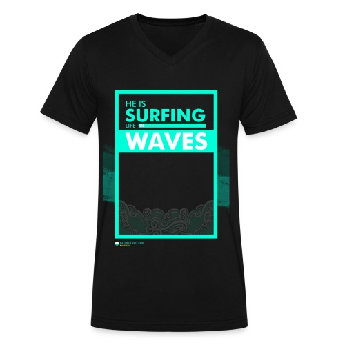 He Is Surfing Life In Waves - Men's V-Neck T-Shirt by Canvas