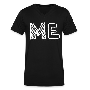 Man Me T Shirt White on Black - Men's V-Neck T-Shirt by Canvas