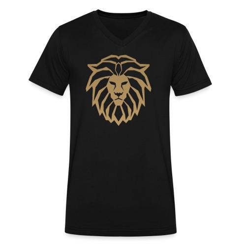 lion head gold - Men's V-Neck T-Shirt by Canvas