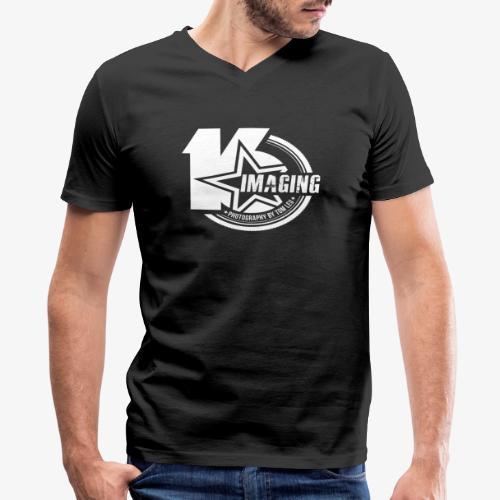 16 Badge White - Men's V-Neck T-Shirt by Canvas