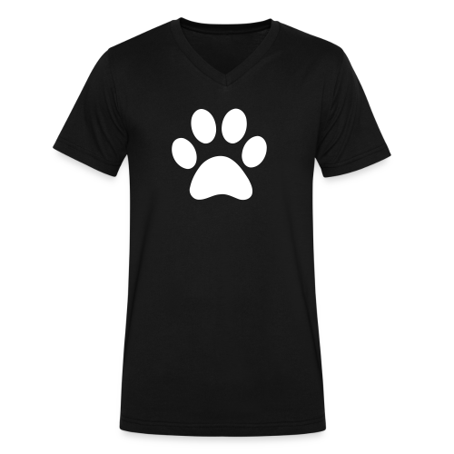 white Paw print - Men's V-Neck T-Shirt by Canvas