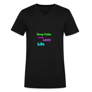 Keep Calm, Laugh, Love Life - Men's V-Neck T-Shirt by Canvas