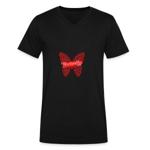 BUTTERFLY WORD RED - Men's V-Neck T-Shirt by Canvas