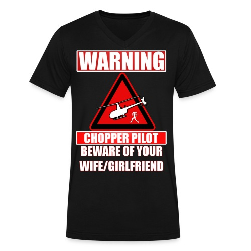 Warning - Chopper Pilot - Beware of Your Wife - Men's V-Neck T-Shirt by Canvas