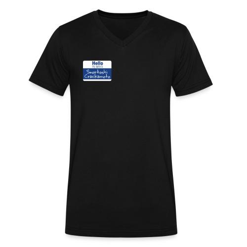 Snortoshi Crakamoto Name Tag Bitcoin Creator - Men's V-Neck T-Shirt by Canvas