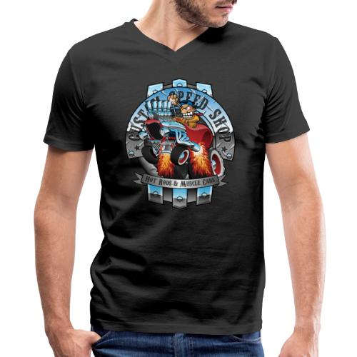 Custom Speed Shop Hot Rods and Muscle Cars Illustr - Men's V-Neck T-Shirt by Canvas