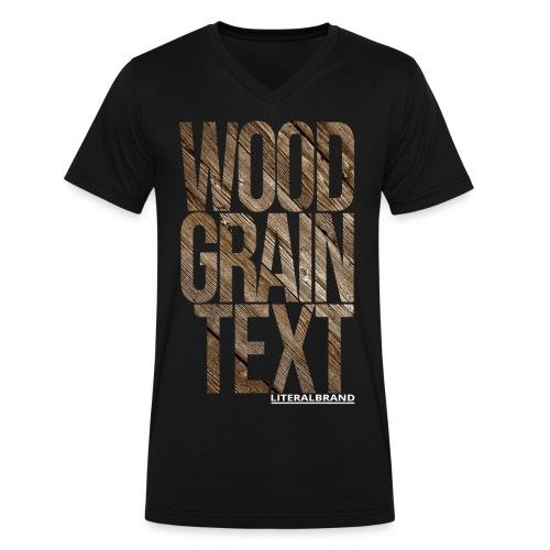 Wood Grain Text - Men's V-Neck T-Shirt by Canvas
