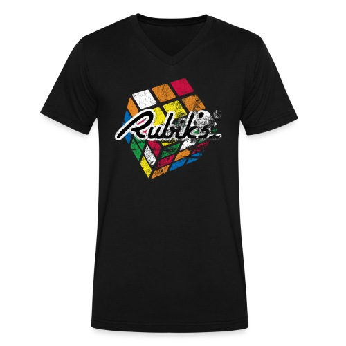 Rubik's Cube Distressed and Faded - Men's V-Neck T-Shirt by Canvas