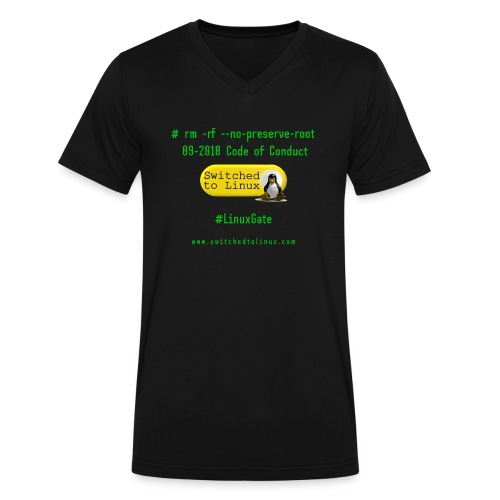 rm Linux Code of Conduct - Men's V-Neck T-Shirt by Canvas